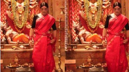 'लक्ष्मी बम्ब' मा अक्षय,  रातो साडीमा यस्ता देखिए !