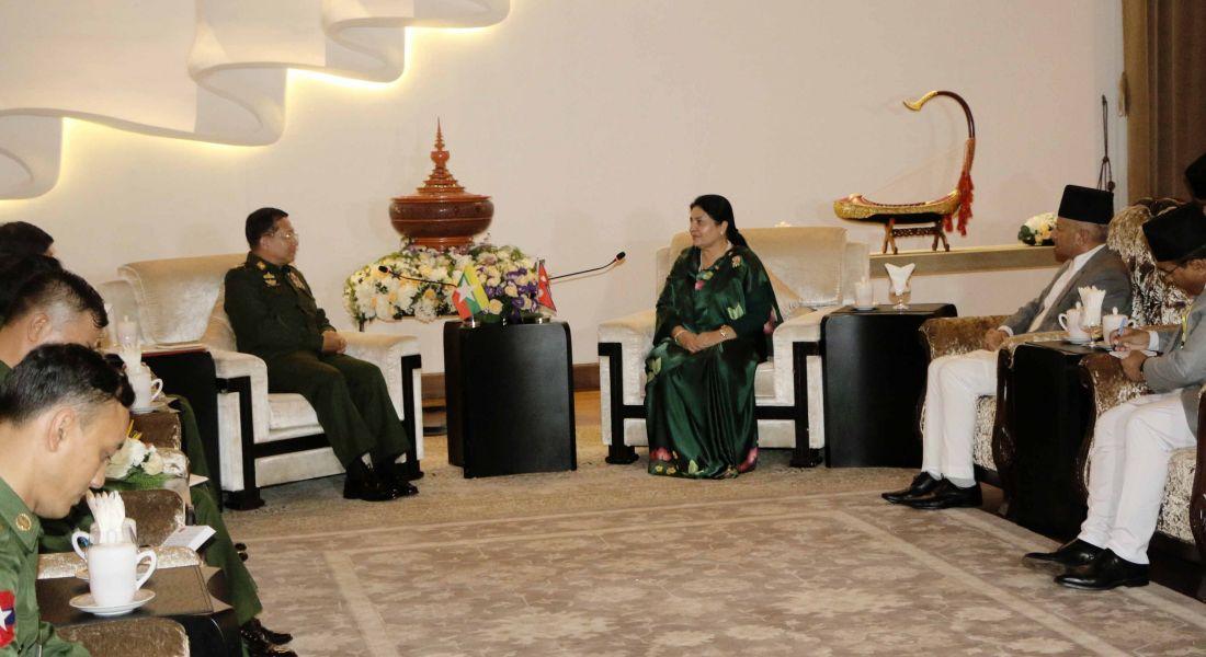 राष्ट्रपति भण्डारीसँग म्यान्माली सेना प्रमुखको भेट
